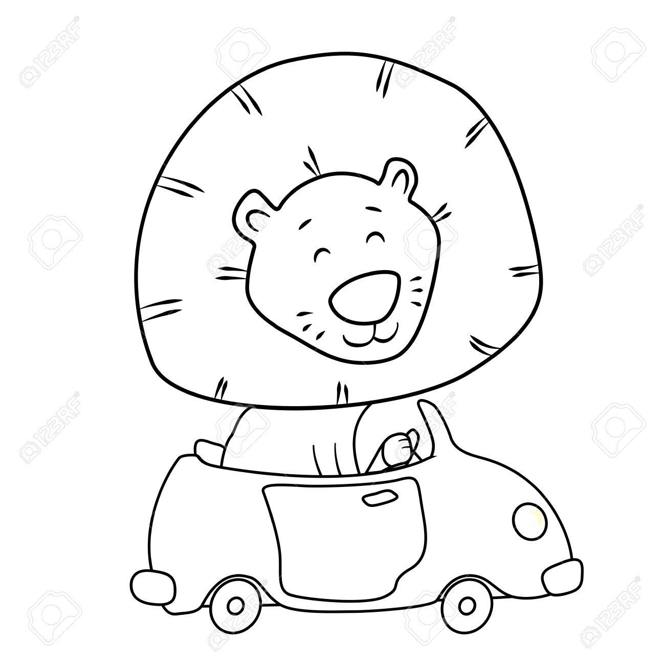 1300x1300 Cute Cartoon Lion Driving A Car Coloring Page For Kids Royalty