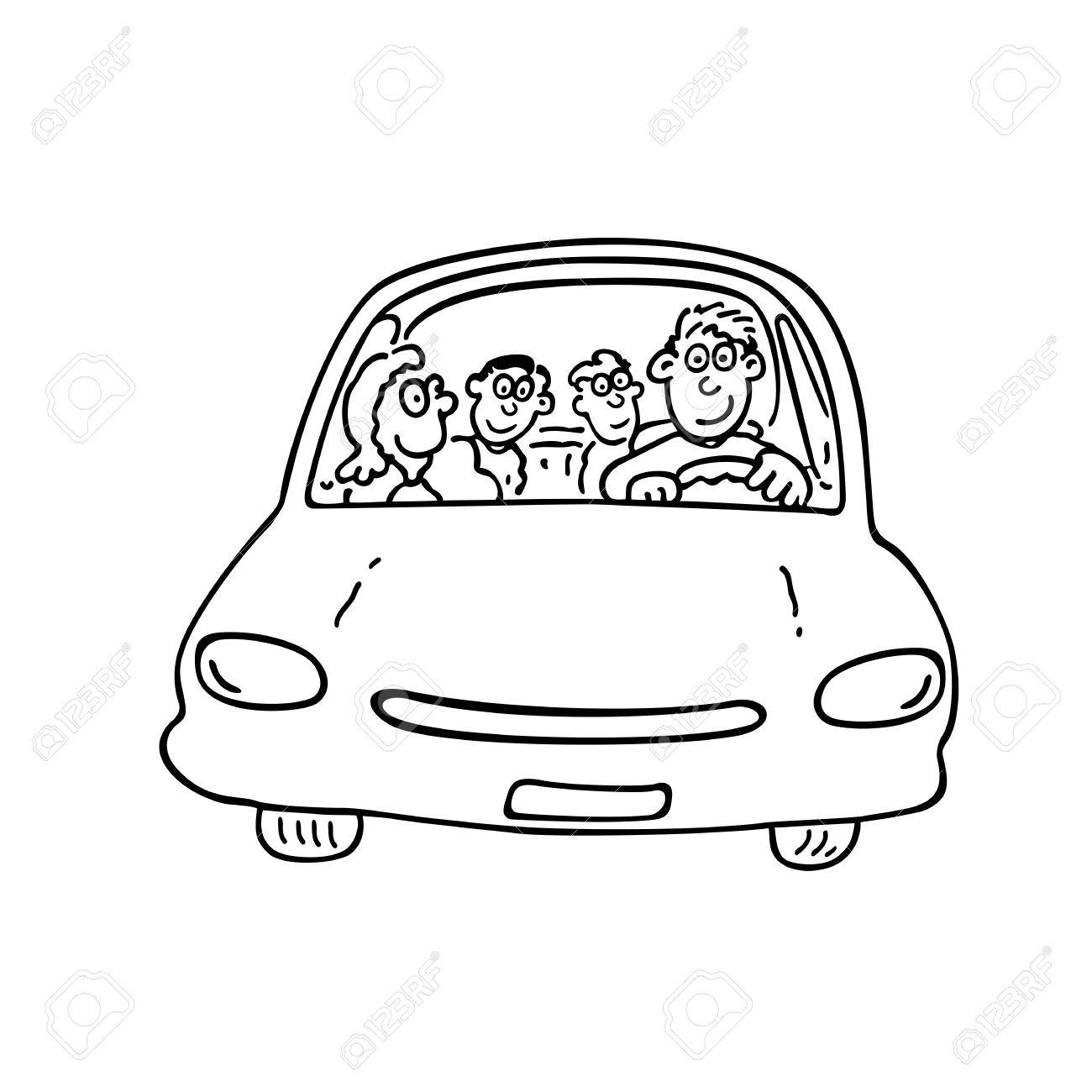 1300x1300 Happy Family On The Car. Outlined Cartoon Handrawn Sketch