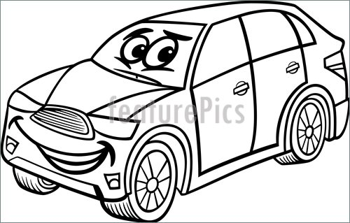 500x319 Illustration Of Suv Car Cartoon Coloring Page