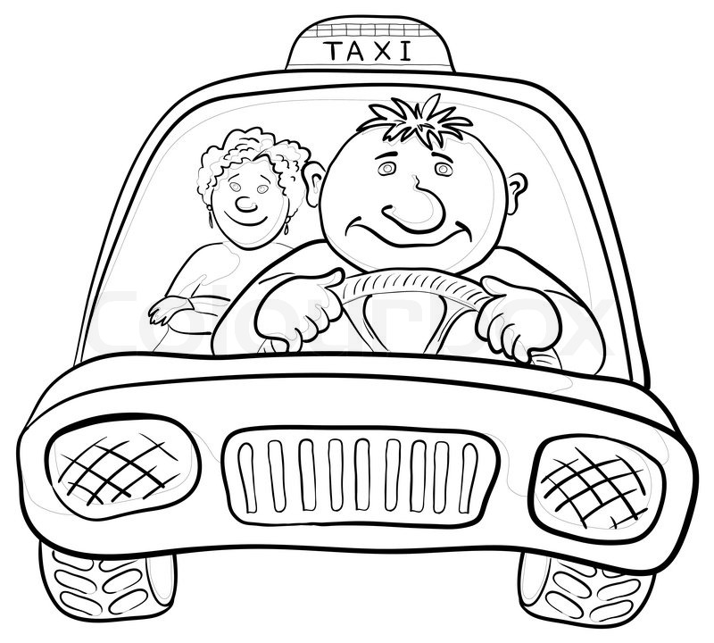 800x720 Cartoon, Car Taxi With A Man Driver And Passenger A Woman