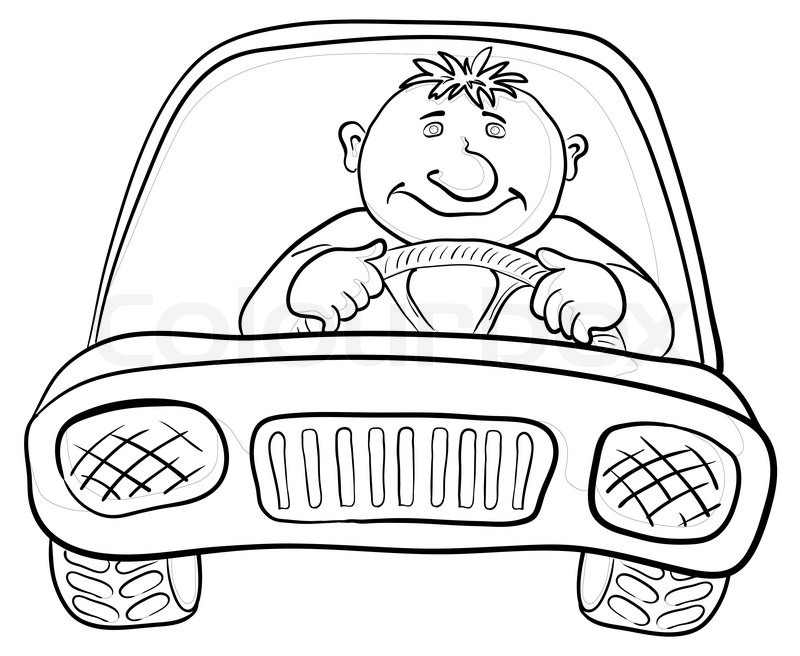 800x656 Cartoon, Car With A Man Driver, Contours On White Stock Photo