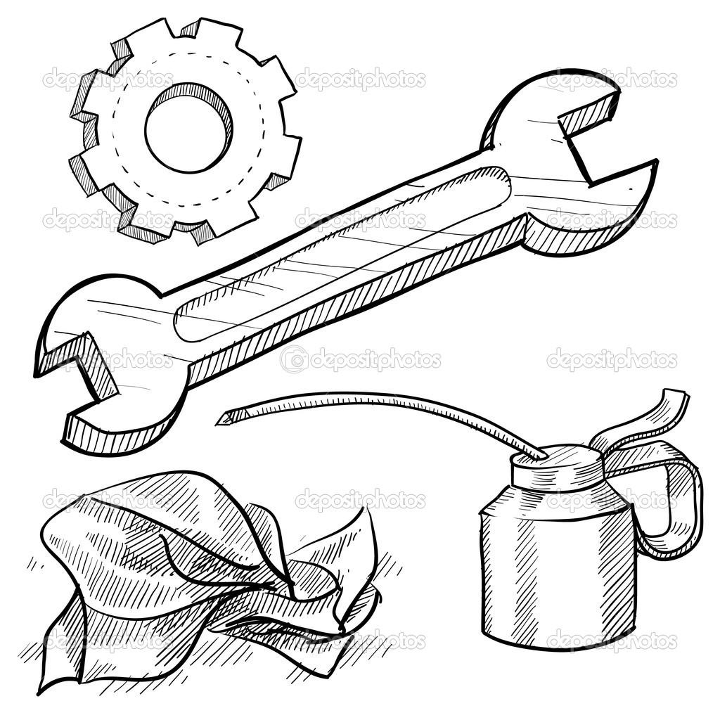 1024x1024 Car Mechanics Tools Stock Vector Lhfgraphics