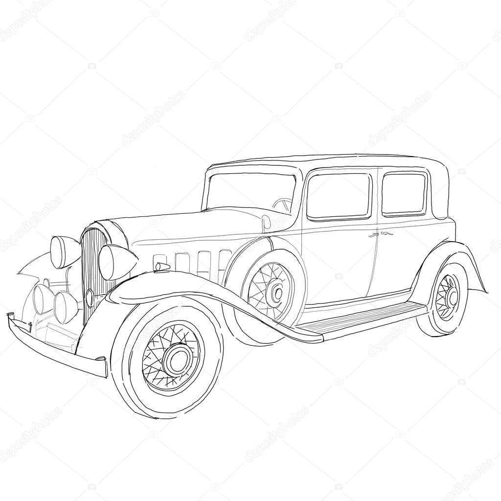 1024x1024 Old Classic Car Sketch Stock Photo Radub85