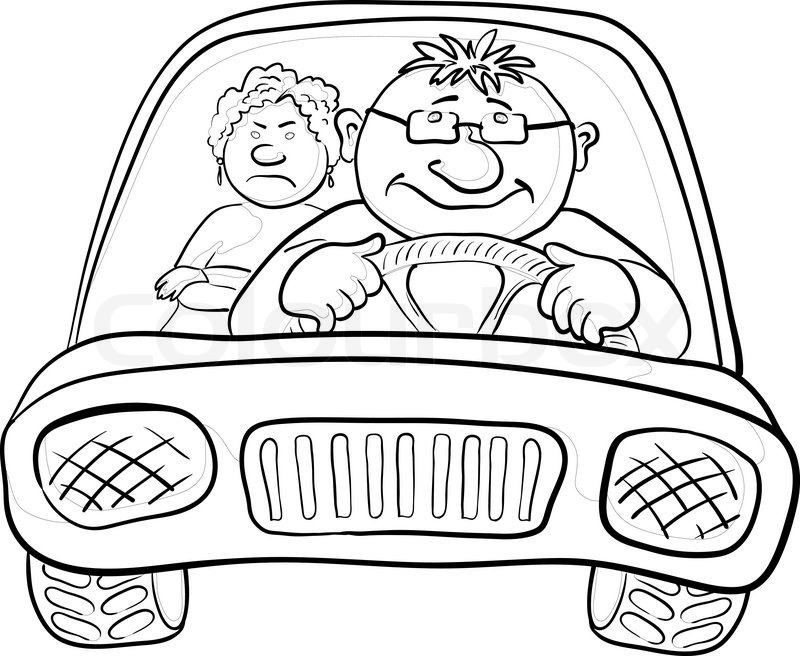 800x656 Cartoon, Car With A Man Driver And Passenger A Woman, Contours