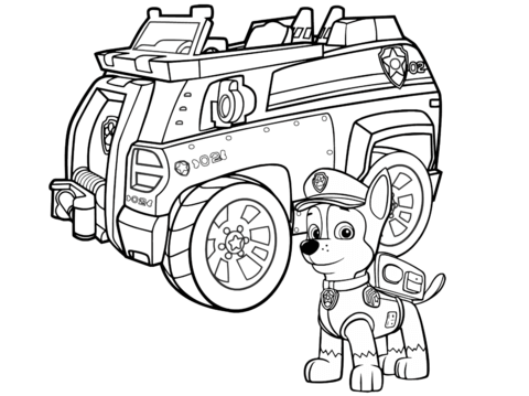 480x359 Paw Patrol Chase Police Car Coloring Page Free Printable