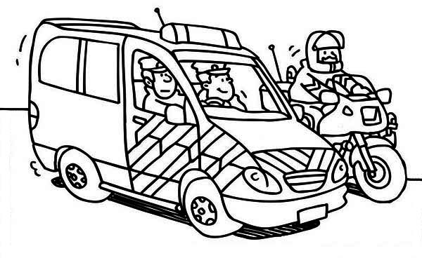 600x368 Police Car And Motorcycle Coloring Page Color Luna