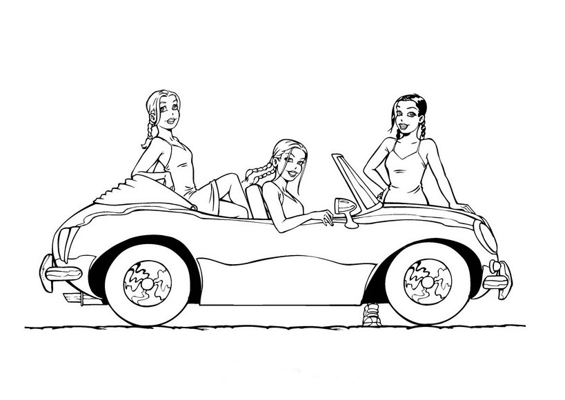 819x580 Coloring Page Of 3 Girls With Car