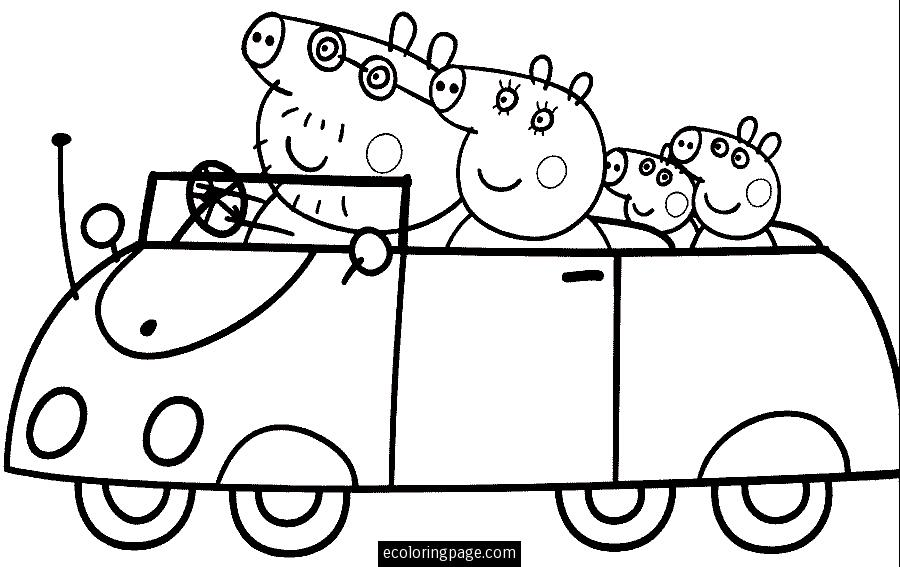 900x567 Peppa Pig And Family Driving Coloring Page For Kids Printable