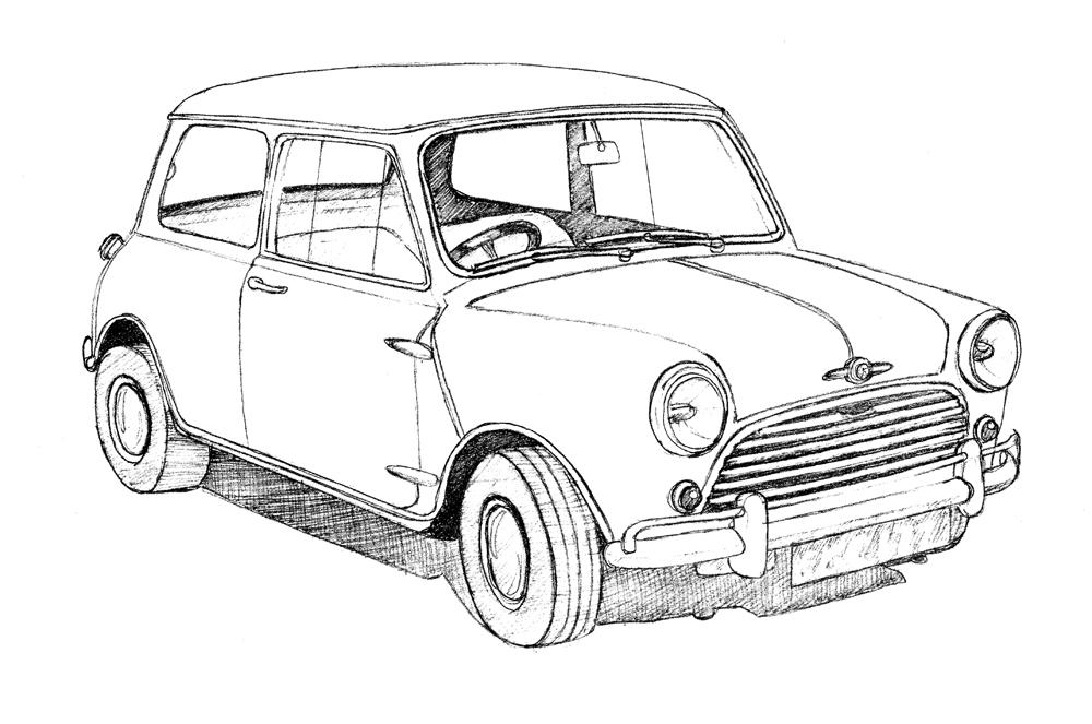1000x663 Classic British Car Drawings Bob Stokes Cartoons Blog