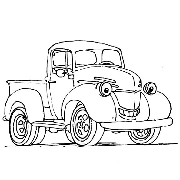 576x576 Kids Coloring Pages Cars And Trucks For Free In Amusing Draw Print