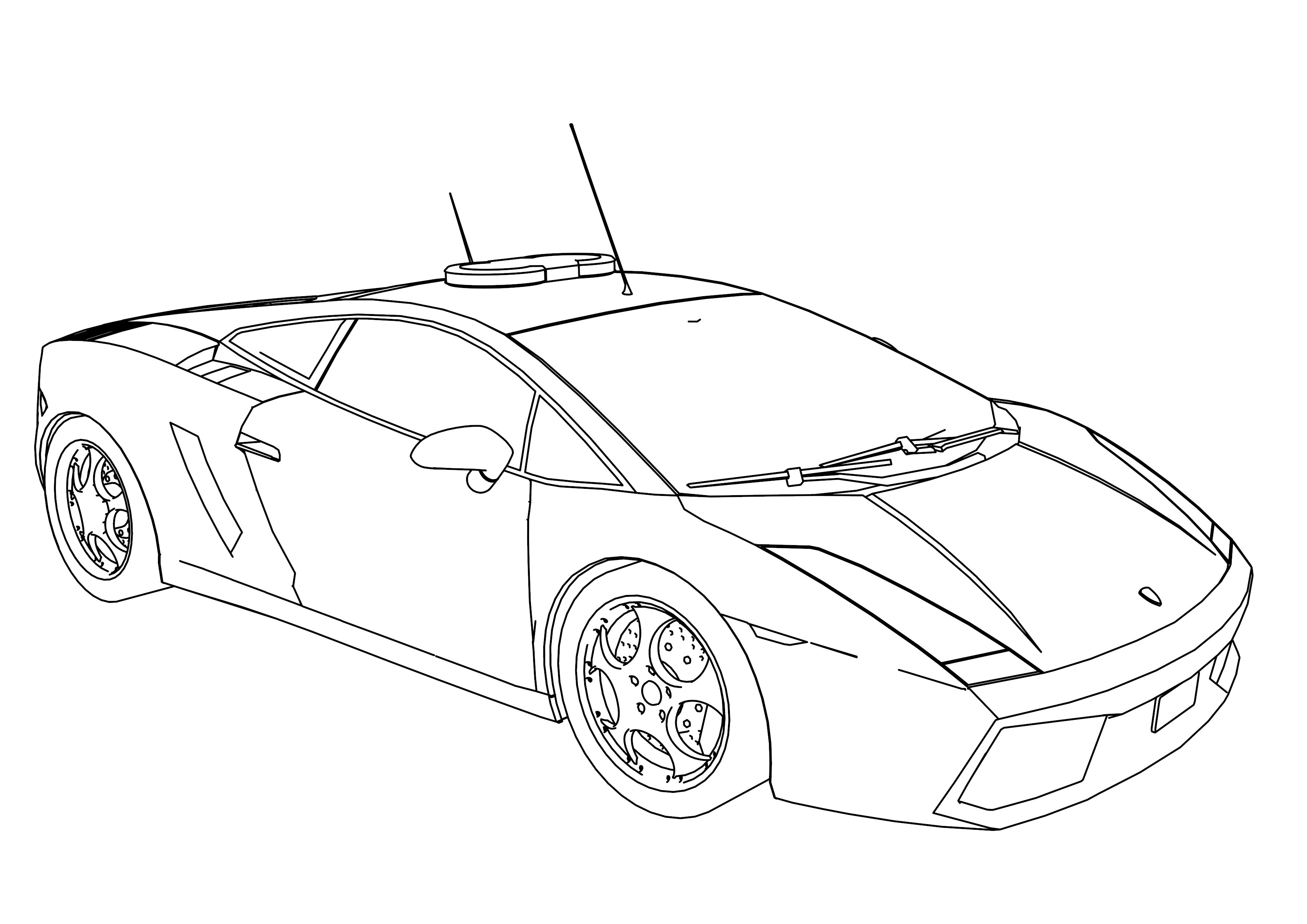 3508x2480 Police Car Transportation Coloring Pages For Kids