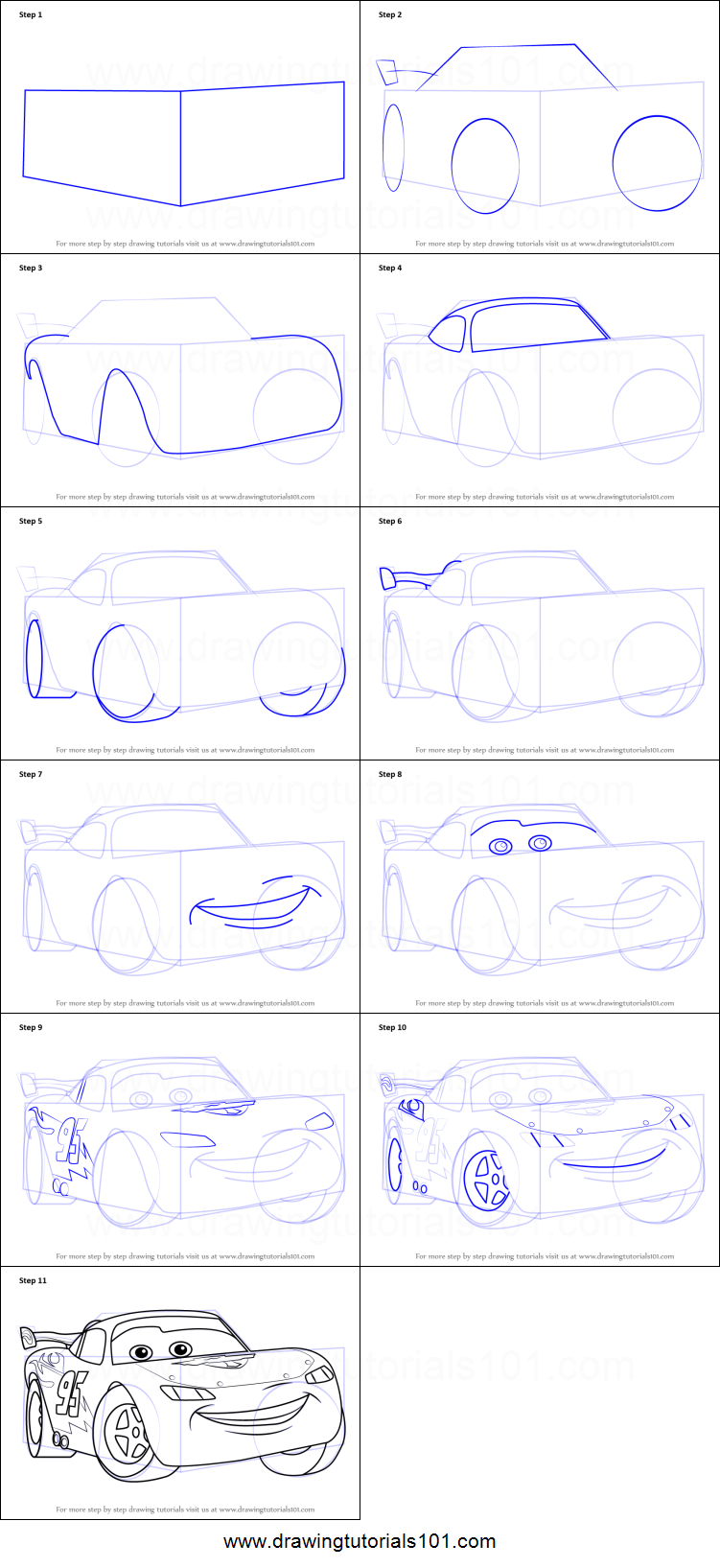 751x1635 How To Draw Lightning Mcqueen Step By Step