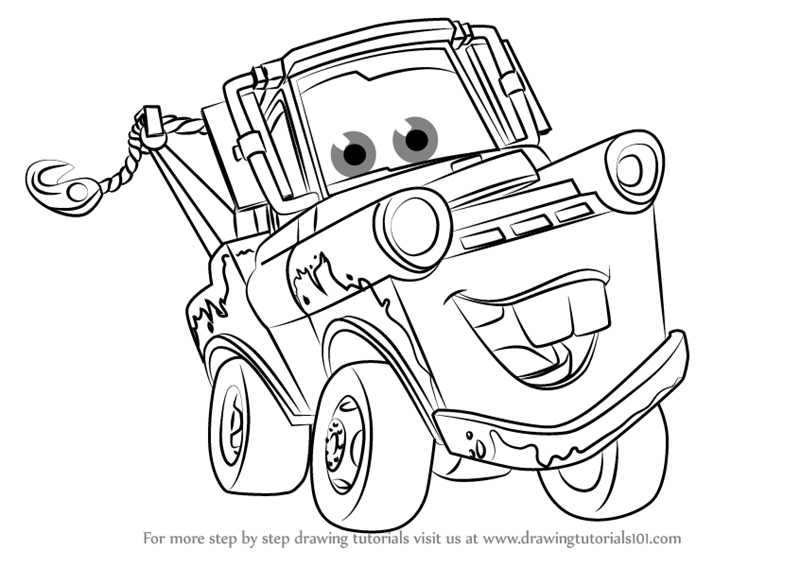 800x567 Step By Step How To Draw Tow Mater From Cars 3