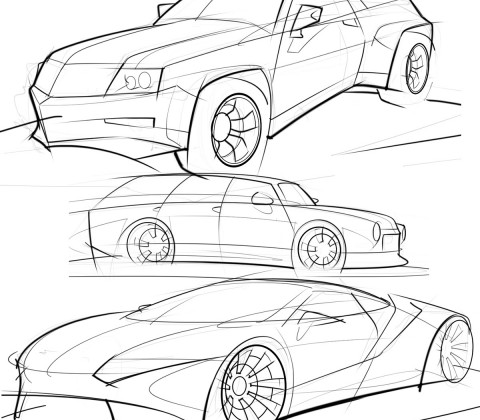 480x420 Practicing Car Sketches With Thick And Thin Lines Scottdesigner