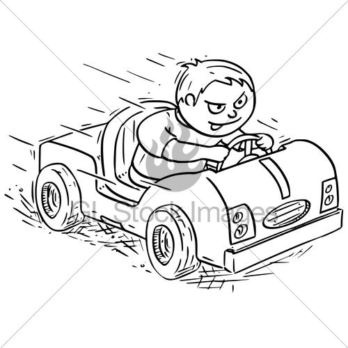 500x500 Cartoon Illustration Of Boy Driving Electric Or Pedal Car Gl