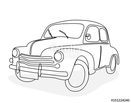 500x391 Continuous Line Drawing Of An Antique Car Stock Image And Royalty