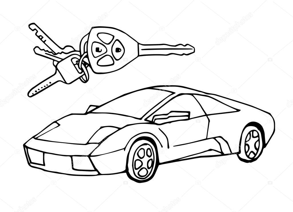 1023x741 Hand Drawn Sketch Italian Car With Car Keys Vector Design