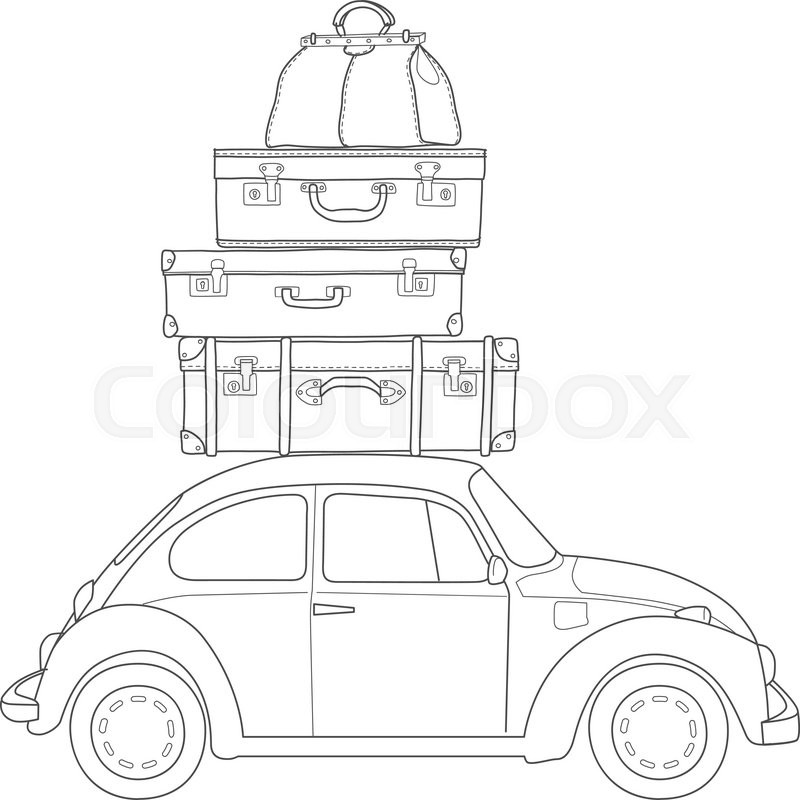 800x800 Auto Travel Retro Car With Luggage On The Roof. Hand Drawn Sketch