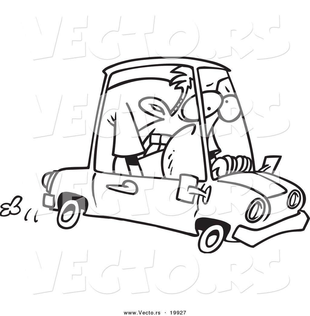 1024x1044 Vector Of A Cartoon Man Cramped Into His Mini Car
