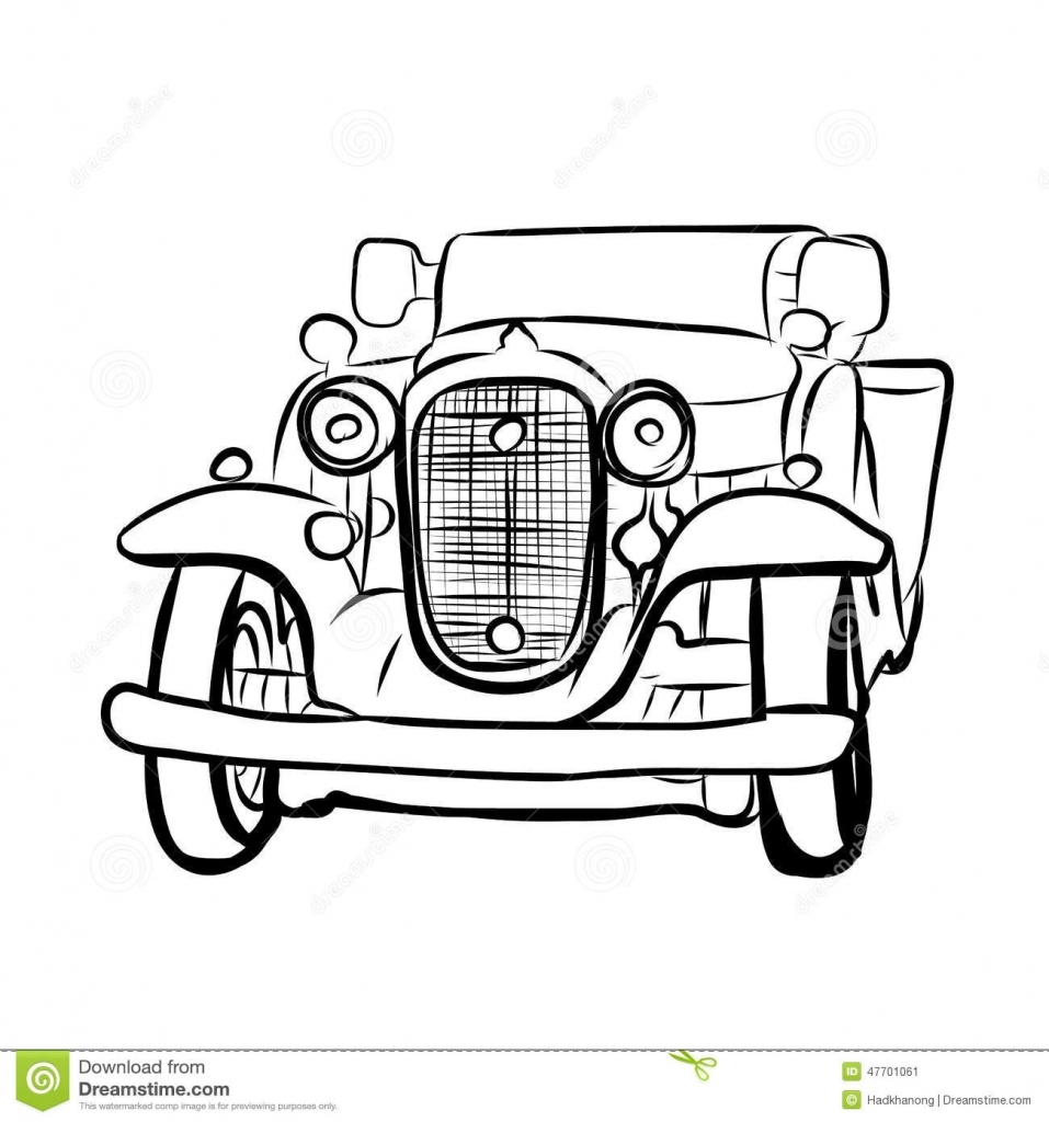 957x1024 Vintage Car Drawing Drawing Of Old Vintage Car Stock Vector Image