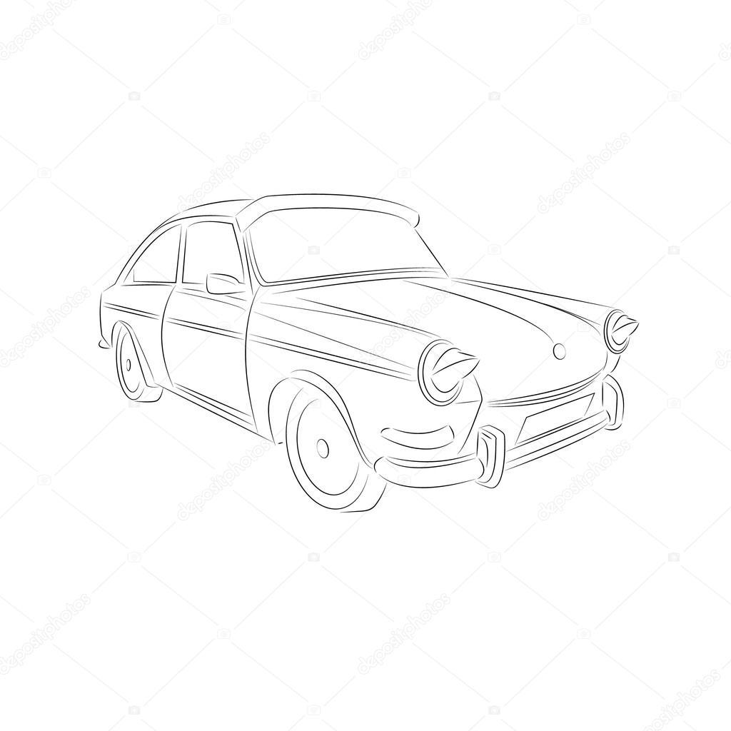 1024x1024 Vintage Car Drawing Stock Vector Jakkarin Rongkankeaw@hotmail