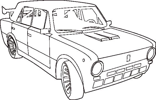600x387 Car Lada Outline Clip Art Free Vector 4vector