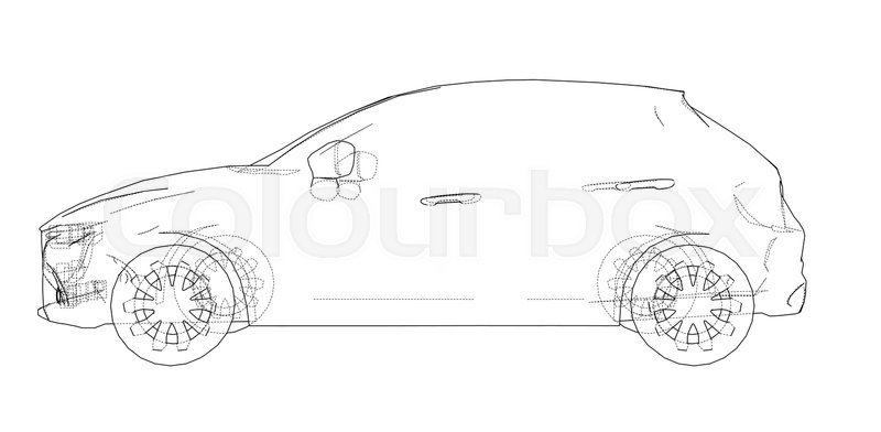 800x392 Car Outline Drawing. Vector Rendering Of 3d. The Layers Of Visible