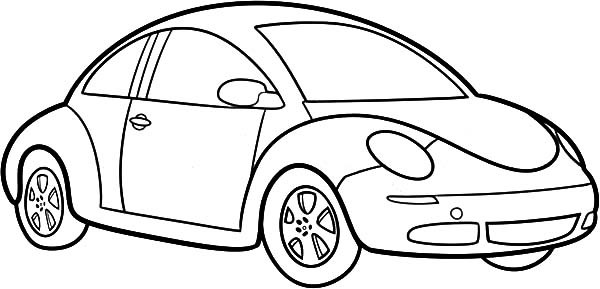 600x289 Simple Car Coloring Pages