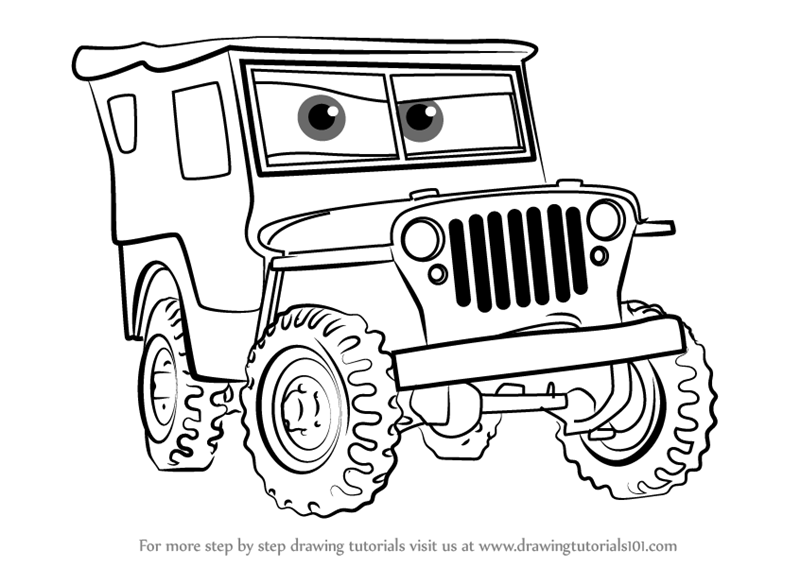 800x567 Learn How To Draw Sarge From Cars 3 (Cars 3) Step By Step