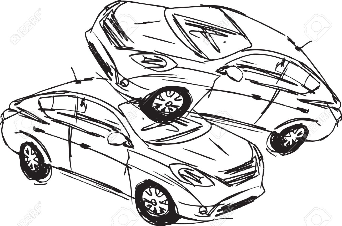 1300x859 Sketch Of Two Cars In An Accident Isolated On A White Background