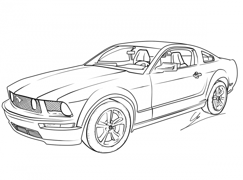 780x578 Learn How To Draw A Muscle Car Ford Mustang (Ford Mustang Drawing