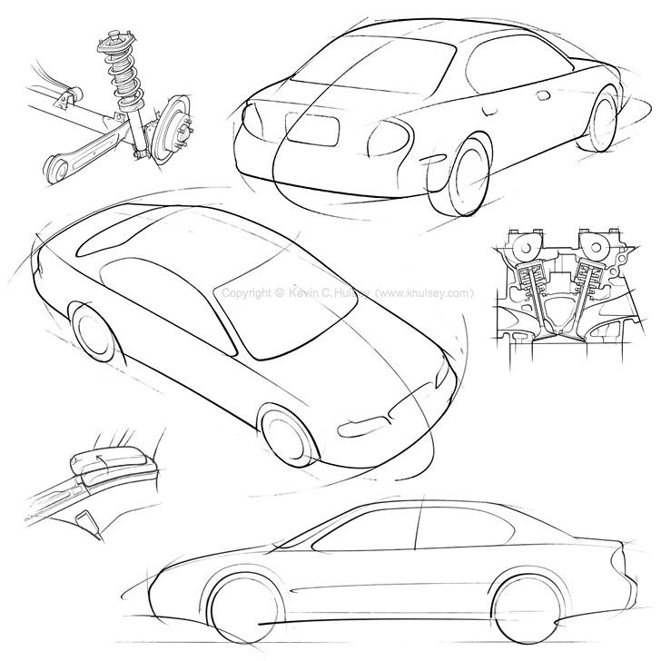 728x728 Car Concept Line Drawings
