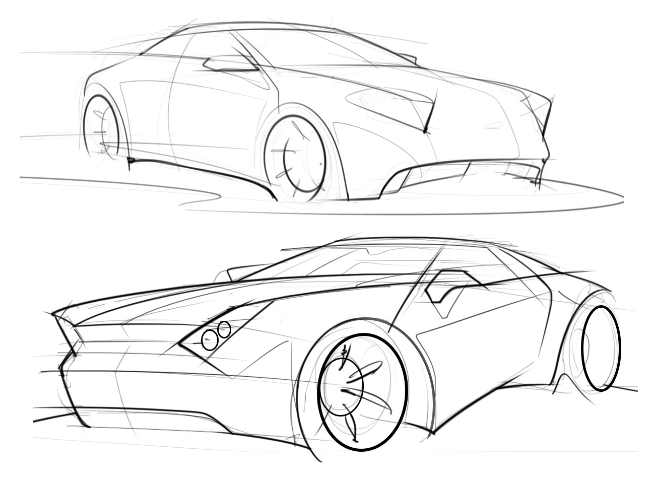 1294x959 Car Sketches With A Hard Edge Design Language Scottdesigner