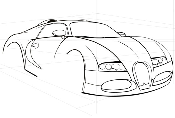 600x404 How To Draw, Ink And Colour A Cartoon Car In Adobe Photoshop