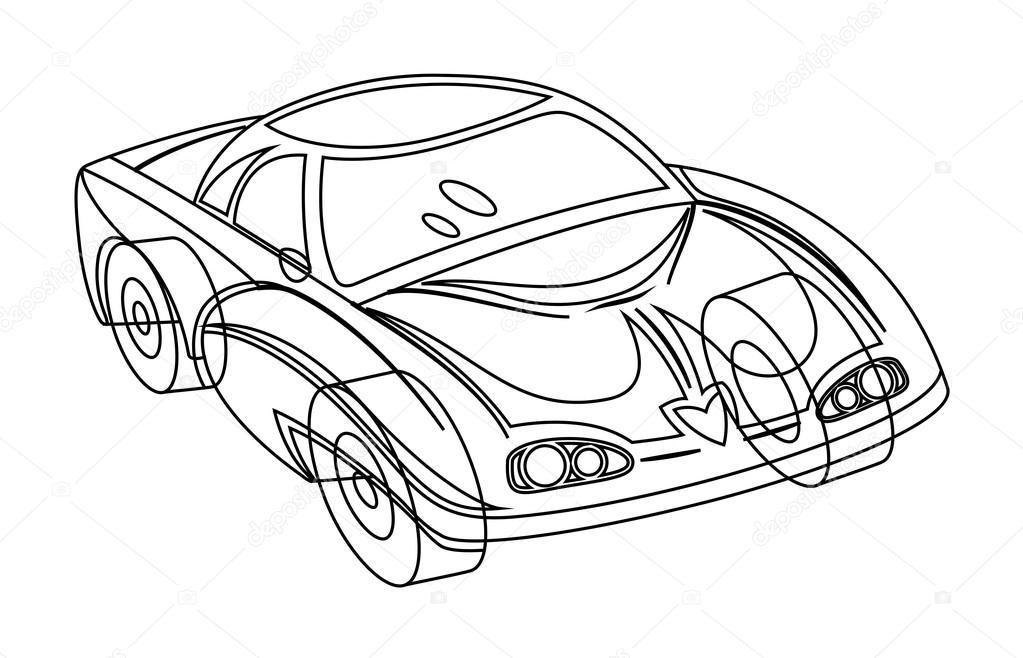 1023x658 Modern Sports Car Drawing Stock Vector Baavli