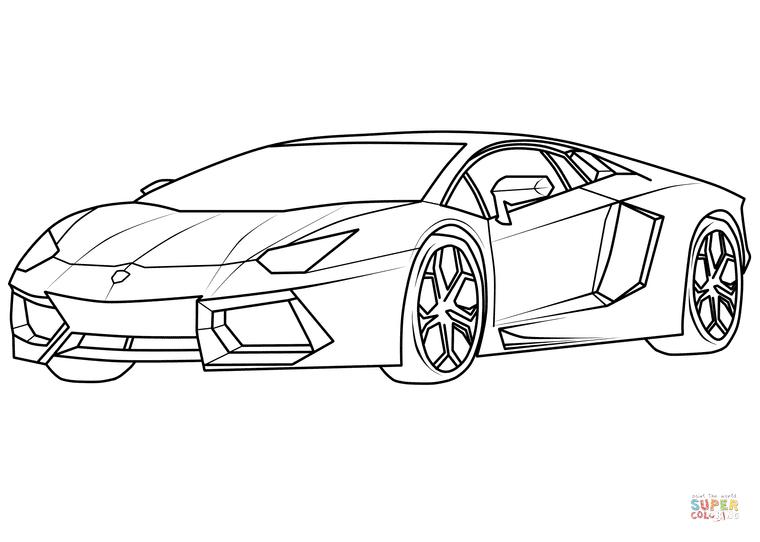 760x542 Lamborghini Aventador Supercar Coloring Page Free Printable