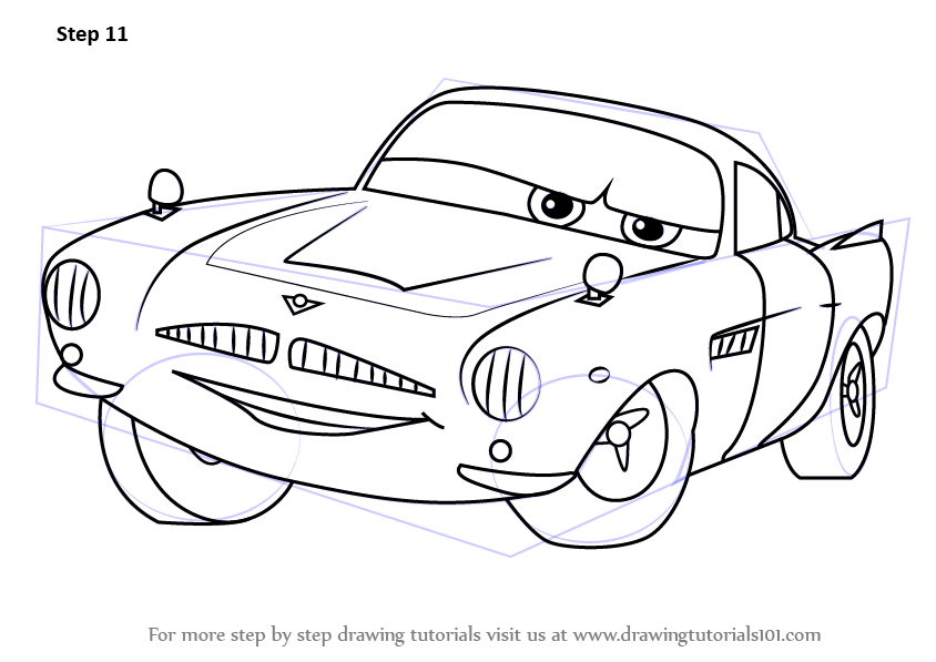844x597 Learn How To Draw Finn Mcmissile From Cars 2 (Cars 2) Step By Step