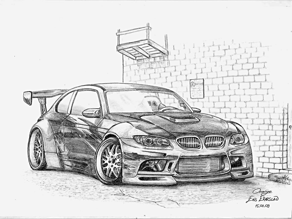 1024x768 Lowrider Car Drawings In Pencil Bmw M3 Drawing By Orangenes