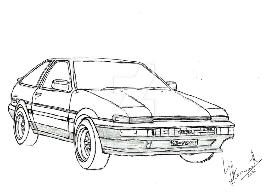 1024x743 Toyota Trueno Ae86 Pencil And Pen Sketch Drawing By Lahiruj