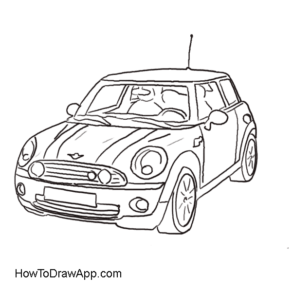 600x600 Drawing Of The Mini Cooper Car Coloring Pages