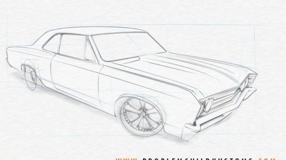 570x320 How To Draw A Muscle Car Car Design Sketch Chevy Muscle Car