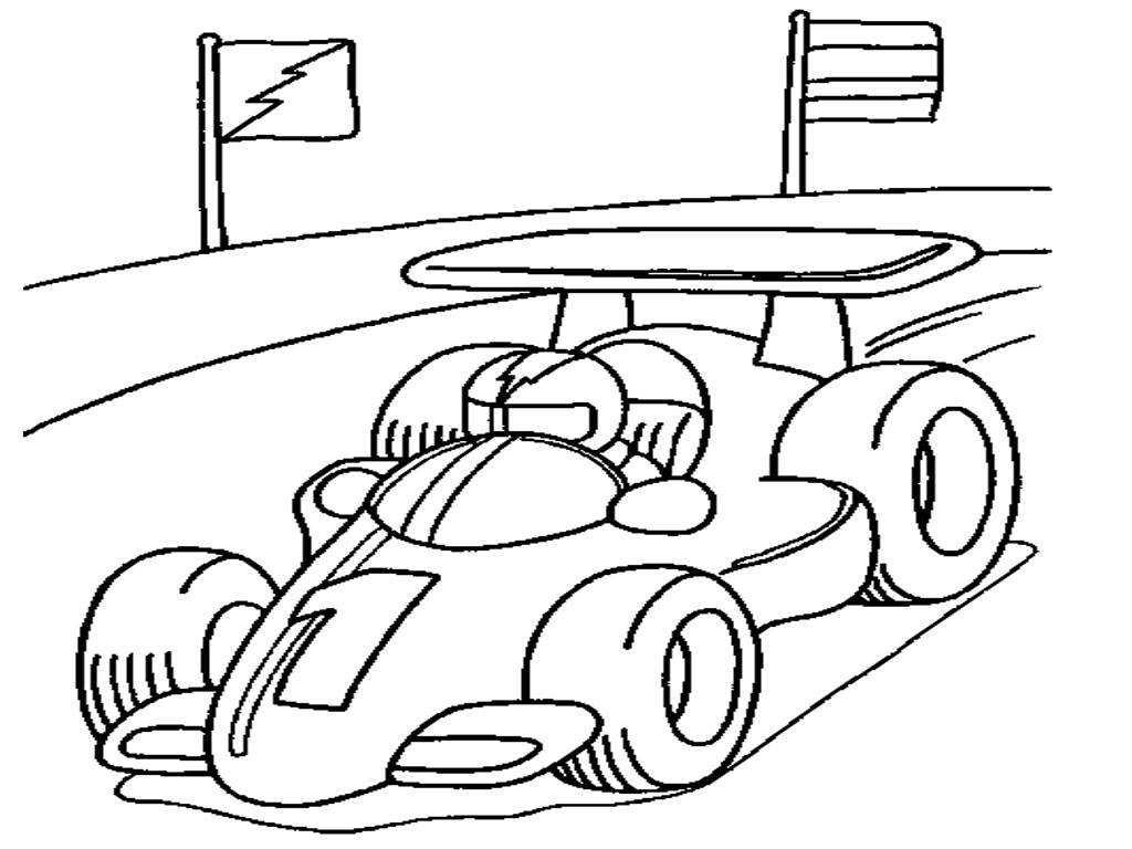 1024x768 Racing Car Clipart Colouring