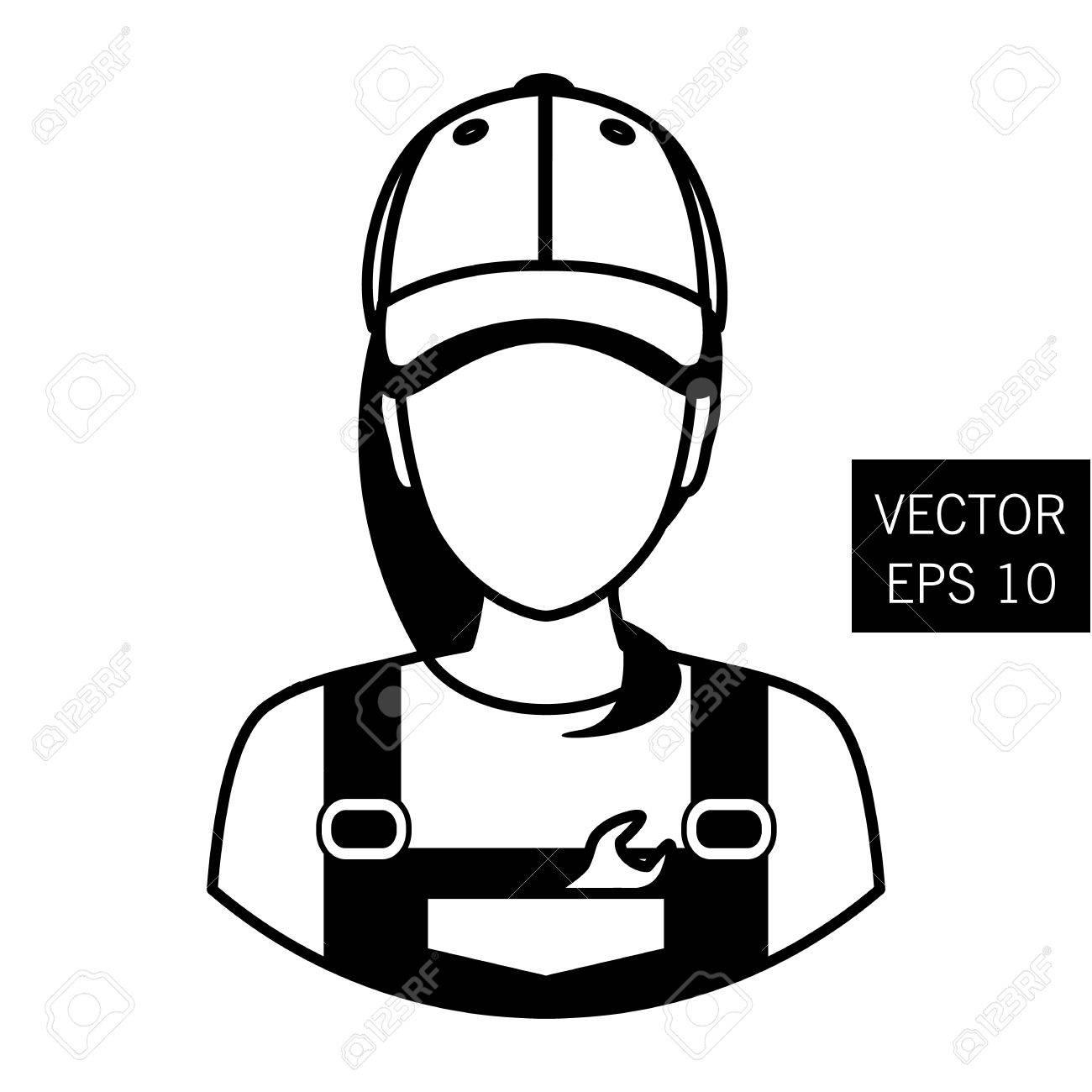 1300x1300 Icon Mechanic. Repair Girl Avatar. Car Repair. Icon Flat Circle