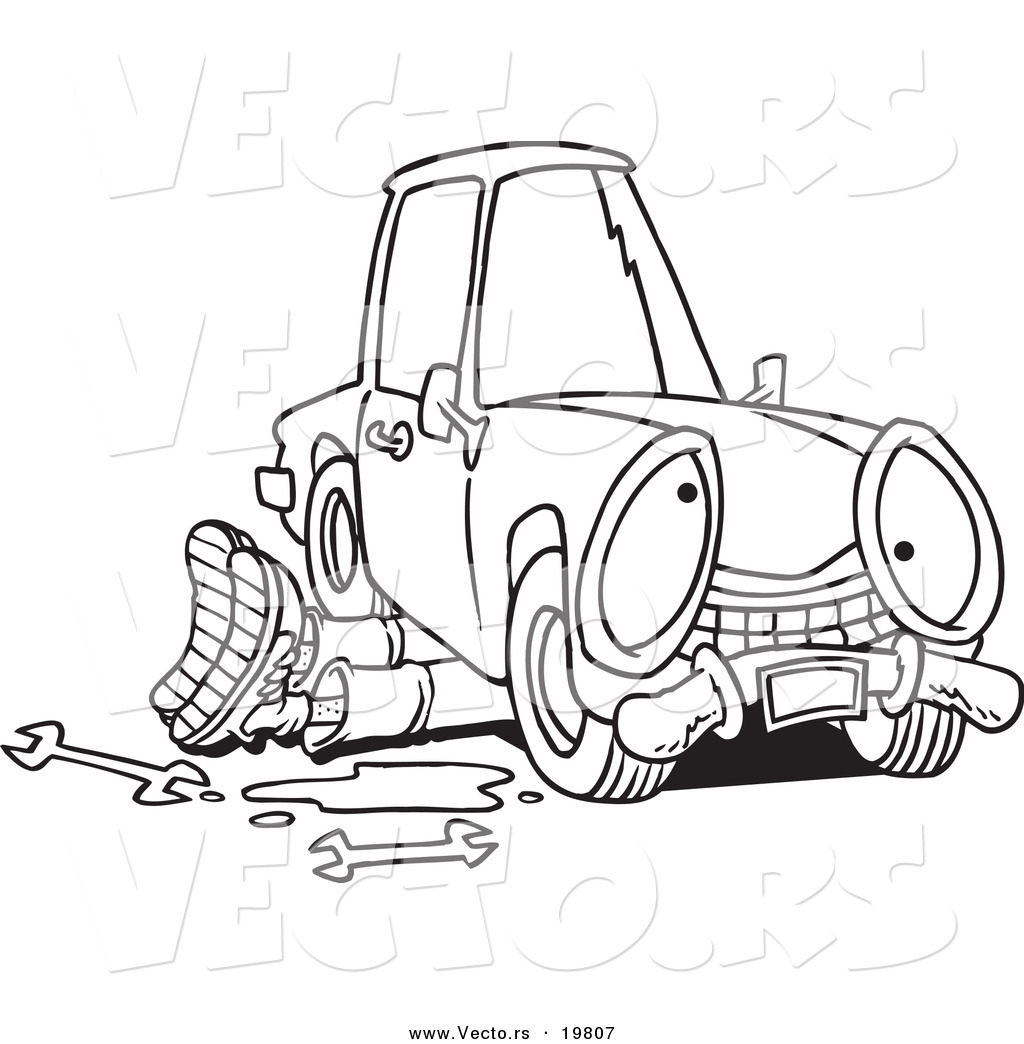 1024x1044 Vector Of A Cartoon Mechanic Working Under A Car