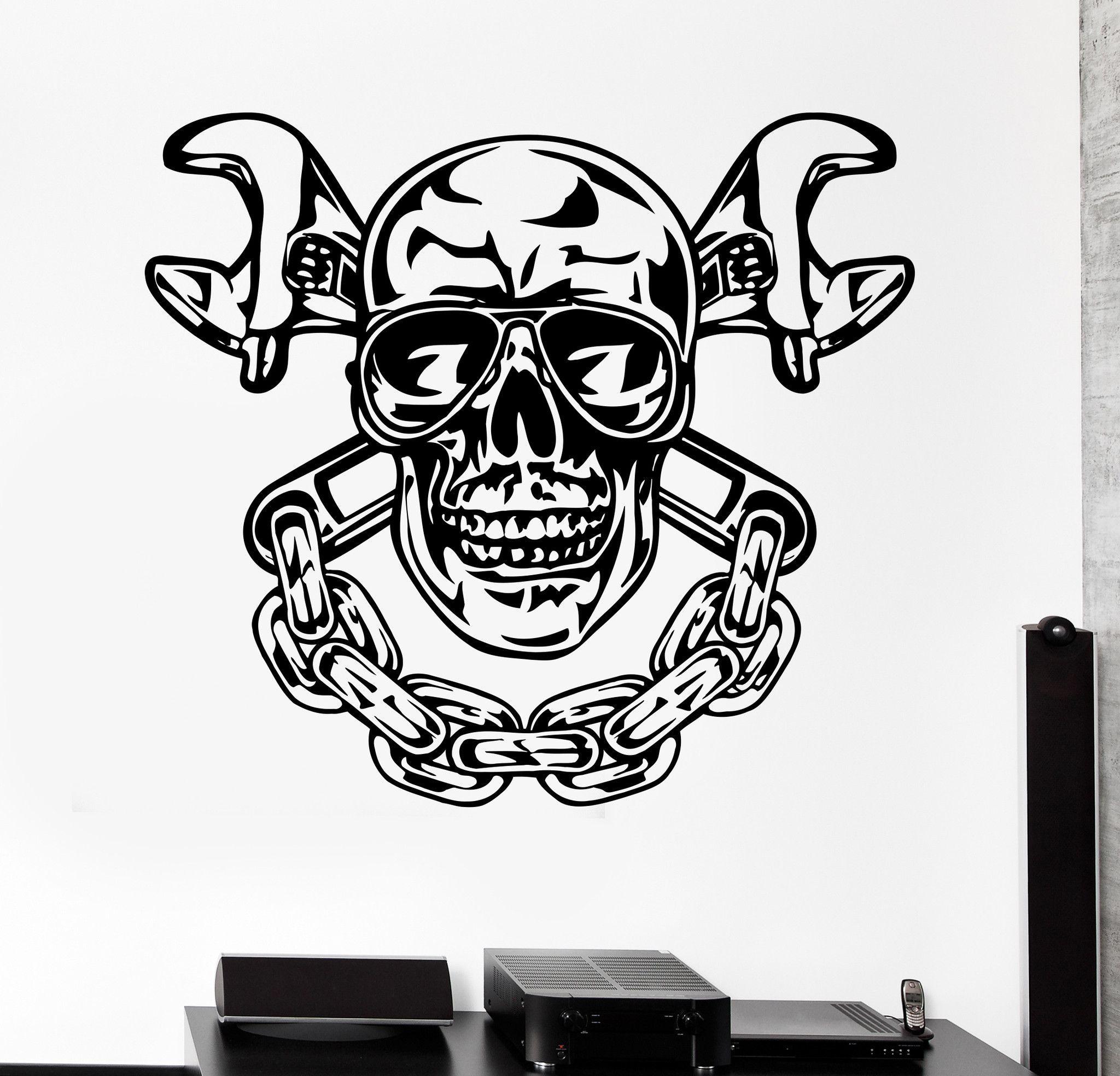2048x1968 Vinyl Wall Decal Skull Chain Auto Car Repair Service Garage