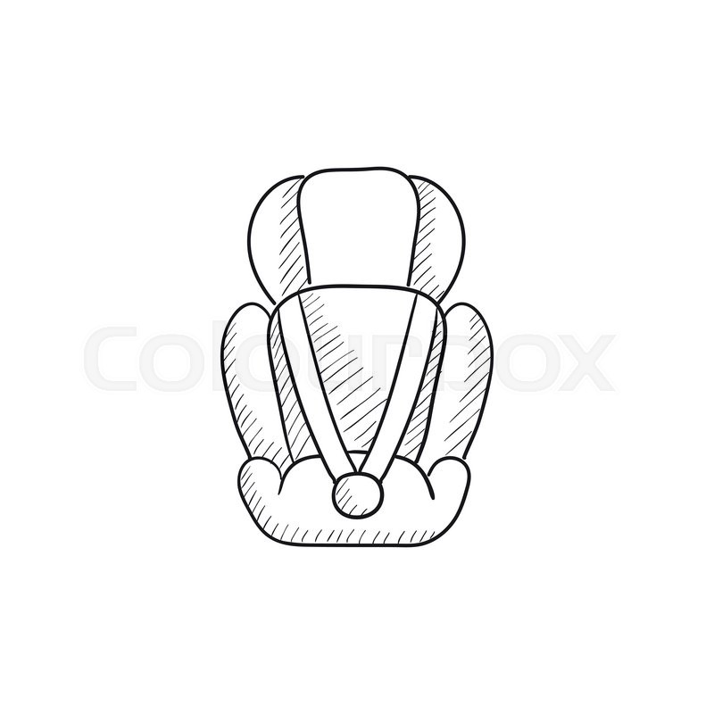 800x800 Baby Car Seat Vector Sketch Icon Isolated On Background. Hand