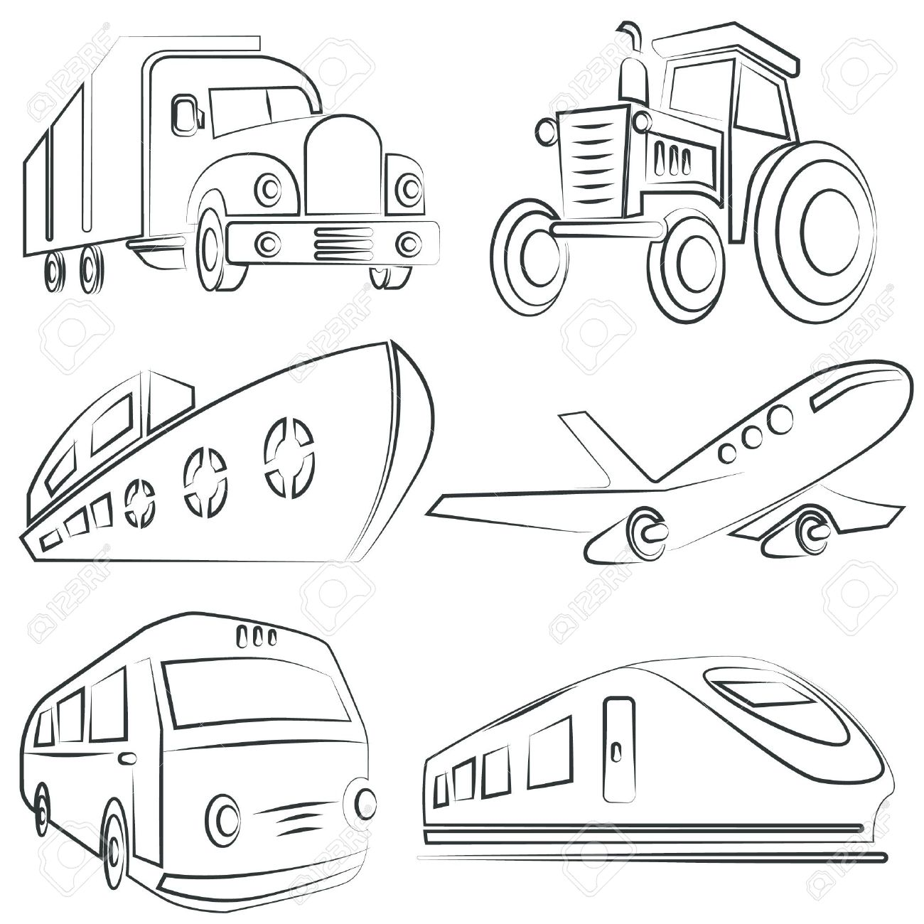 1300x1300 Sketched Car, Truck Set, Transportation Royalty Free Cliparts