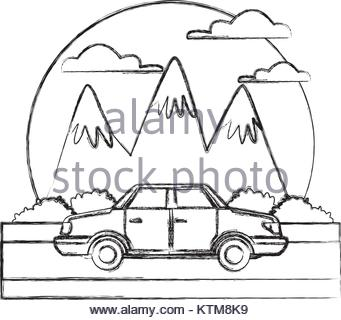 341x320 Car Sideview Vehicle Between Mountains Landscape Icon Vector Stock