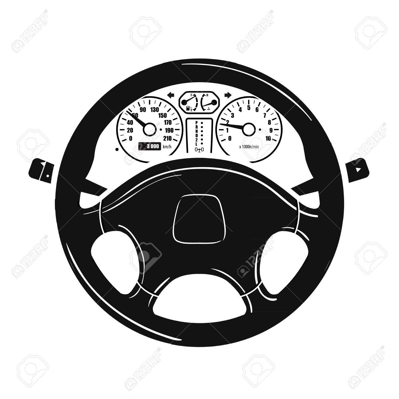 1300x1300 Car Steering Wheel And Speedometer On A White Background. Vector