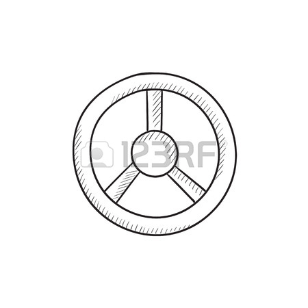 450x450 Steering Wheel Vector Sketch Icon Isolated On Background. Hand